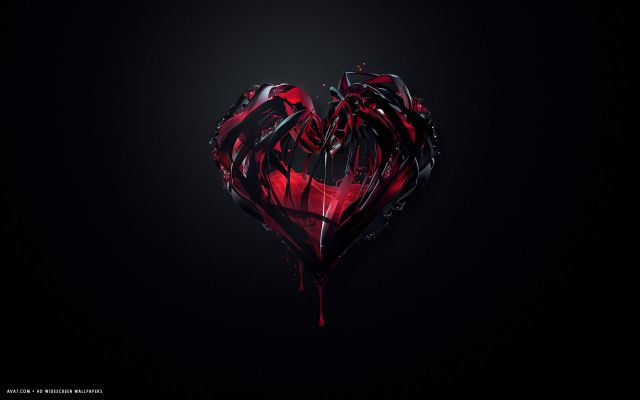 broken-red-black-heart-lines-glass-drops-melting